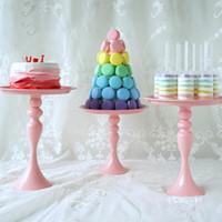 décorations de petit gâteau rose achat en gros de-Rose Fer Art Cake Stand Rond Coupe Cupcake Titulaire De Mariage Décorations De Fête D'anniversaire Événements Dessert Sugarcrafts Présentoirs