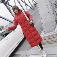 ingrosso cappotto di parka invernale donna rosso-Plus Size Puffer Jacket Coreano Womens Winter Fashion 2018 Bianco Warm Long Coat 5xl 6xl Casual Red Dolcevita Parka Hooded Black