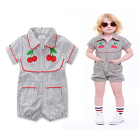 Wholesale girl cherries - Kids Striped Cherry Rompers Embroidery Zipper Red Biding Turn-Down Collar Baby Boy Girls Jumpsuits Summer Outfit Short Sleeve 1-5T