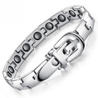 sport magnetischen armband großhandel-Gürtelschnalle Stil Armband Titan Stahl Magnetische Armband Sport Gesundheitswesen Magnetisch widerstehen müde