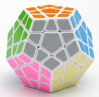pvc würfel großhandel-2018 Würfel Shengshou Megaminx Magic Cubes Pentagon 12 Seiten Gigaminx PVC Aufkleber Dodekaeder Spielzeug Puzzle Twist