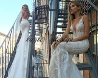 Wholesale cross chiffon top - Pallas Couture Mermaid Wedding Dresses Backless Sweep Train Lace Applique Illusion Sexy Bohemian Wedding Gowns Plus Size Bridal Dress Top