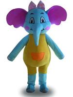 Wholesale Adult Mascot Costume Elephant - High quality hot sale blue beautiful elephant Fancy Dress Cartoon Adult Animal Mascot Costume free shipping