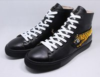 Wholesale womens tiger tops - Famous branded men womens Animal embroidery high top shoes 3D Tigers Lace-up sneakers Plus size Hombre 46
