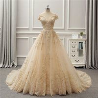 Wholesale Fancy Chart - 2018 Champagne Off Shoulder Bridal Gowns With Embroidery A-Line Fancy Wedding Dresses Back Lace-Up Custom Made Wedding Gowns