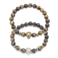 Wholesale Luck Stones Wholesale - Wholesale Antique Gold Silver Plated Buddha Leo Leopard Head Bracelet Stone Beaded Good Luck Bracelet Free DHL G374S