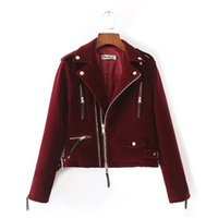 Wholesale Ladies Velvet Short Jackets - Casual Autumn 2017 Womens Velvet Fabric Jacket Female Burgundy Zipper Long Sleeve Biker Ladies Short Coat For Women Outerwear
