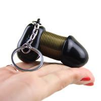 Wholesale funny car sale online - Male Dingding Genitalia Keychain Keyring Stretchable Penis Plastic Key Chain Porte Clef Bag Car Pendant Funny Gift Hot Sale Key Ring
