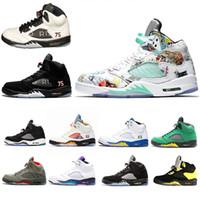 online store 05963 869b7 2018 Nouvelles ailes Nike Air Retro 5 5s chaussures de basketball PSG noir  et blanc raisin Laney International Flight chaussures de designer Prince  Oreo