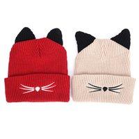 ingrosso corna di beanie-1pc carino corna del diavolo gatto orecchio beanie uncinetto intrecciato bella maglia cappello di lana cap moda donna ragazza inverno caldo cappello da sci