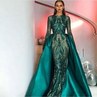 Wholesale mermaid tail dress split for sale - Group buy Amazing Prom Dresses Long Sleeves Sequin Lace Dark Green Detachable Train Satin Tail Prom Dresses Vestidos De Festa Formal