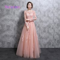 Wholesale two piece dresses fast shipping - Fast Shipping Vestidos de Noiva Long Pink Evening Dresses With Appliques Lace And Tulle Full Sleeves Prom Gowns
