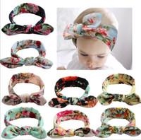 Wholesale hair designs headband for sale - 8 design Baby flower headbands children s baby print cross hair band photo headband bohemian hair accessories flower headbands KKA5797