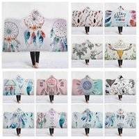 Wholesale adult unisex hoodies resale online - 19 Styles Dreamcatcher Hooded Blankets Adult Kids Sherpa Cloak Watercolour Themed Hoodie Blanket D Printed Magic Blankets CCA10699