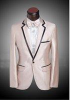 şampanya balo takımları toptan satış-Yüksek Kaliteli Şampanya Damat Smokin Groomsmen Blazer Çentik Yaka Bir Düğme Erkekler Iş Örgün Parti Balo Suit (Ceket + Pantolon + Yaylar Kravat) 248