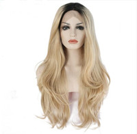Wholesale mixed blonde wavy wig - MHAZEL natural wavy real hair synthetic glueless front lace wig ombre blonde #27mixed #613 natural looking