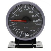 turbo bar boost großhandel-DRACHENANZEIGER 60mm 3,0 BAR Turbo Boost Manometer Elektrisch Mit Warnung