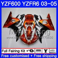 ingrosso yamaha r6 arancione nero-Corpo per YAMAHA YZF600 YZF R6 03 04 05 YZFR6 03 Carrozzeria 228HM.24 YZF 600 R 6 YZF-600 YZF-R6 Arancio nero stock 2003 2004 2005 Kit carene