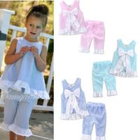 Wholesale Bow Left - Girls Lotus Shirt Pants Suits Lotus Leaves Edge Lattices Big Bow Sleeveless Summer Shirts Pants 1-7T