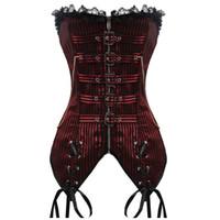 бюстье плюс размер женщин оптовых-Gothic Sexy Steampunk Corset Women Underbust Corselet Bustiers Top Black Red Plus Size S-2XL Waist Trainer Corset and Bustier