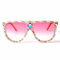 lunettes roses grand objectif achat en gros de-Lunettes de soleil carrées surdimensionnées Femmes Marque Designer Grand objectif Rose Lunettes de soleil Cristal Femme uv400 Cadre transparent