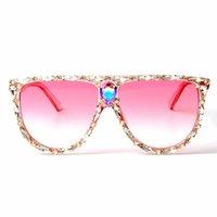 розовый большой объектив очки оптовых-Негабаритные квадратные солнцезащитные очки женщин дизайнер бренд большой объектив розовый солнцезащитные очки Кристалл женский UV400 прозрачный кадр