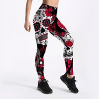 Wholesale clear yoga pants online - 2018 Summer Dark Rose Individuality Diamond Printed Sexy Femme Sport Yoga Pants GYM Fitness Workout Polyester Women Leggings Plus Size