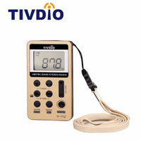 Wholesale Digital Mini Radio - Wholesale-TIVDIO V-112 Radio Mini Pocket FM AM Receiver Portable Digital Tuning Radio Receiver With Rechargeable Battery F9202