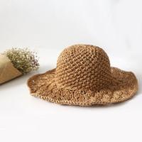 e7f83d26dc2c5 Venta caliente a estrenar versión coreana del sur sombrilla mujer playa  sombrero hecho a mano sombrero de paja al aire libre protección solar  sombreros