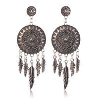 Wholesale long red feather earrings - Retro Feather Tassel Earring Studs Designer Earrings Des Boucles D'oreilles Orecchini Women Long Earrings Stainless Steel Jewelry