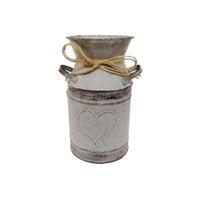 décorations de style campagnard achat en gros de-Le pays français 7.5inch a façonné le bidon galvanisé démodé avec l'impression en forme de coeur pour la décoration de café à la maison de noce