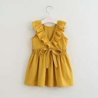 nuevo años vestido infantil al por mayor-2018 Brand New Toddler Infantil Baby Girl Princess Dress Bow Ruffled Backless Sundress Cute Children Summer Dress 2-7 años