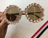 Wholesale cat eye white stone - Women Designer Stones Round Sunglasses Brown Lenses 49mm 2018 Designer SONNENBRILLE Sun Glasses Eyewear New with Box