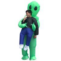 gonflable pour femmes achat en gros de-Halloween hommes femmes drôle kidnappé par des extraterrestres Cosply Costumes Homme Femme Costumes de mascotte vêtements gonflables