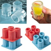 Wholesale party ice molds resale online - 4 Cup Ice Cube Shot Shape Silicone Shooters Glass Freeze Molds Maker Tray Party Bar Tools Ice Shot Glass Mold