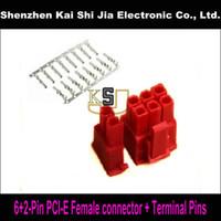 pci expressverbinder großhandel-Kostenloser versand 50 sets 6 + 2Pin Female PCI-Express PCIe-anschluss mit 400 STÜCKE Terminal pins Stecker-Rot