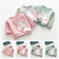 Wholesale cotton candy t shirts resale online - INS Girls Unicorn Printed Candy Colors Long Sleeve Cotton T shirt Baby Clothing Girls Warm Spring T shirts Animal Printed Kids Outfit