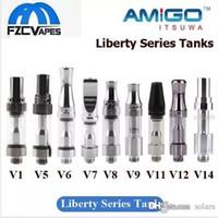v6 tankı toptan satış-Otantik Itsuwa Amigo Liberty Kartuş V1 V5 V6 V7 V8 V9 V10 V11 V12 V14 X5 Cam Tankı Kalın Yağ Yok Kaçak 100% için Orijinal