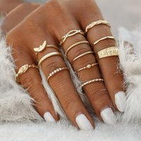 Wholesale gold wedding rings for women finger resale online - 20Set Charm Gold Color Midi Finger Ring Set For Women Vintage Boho Knuckle Party Rings Punk Jewelry Gift For Girl