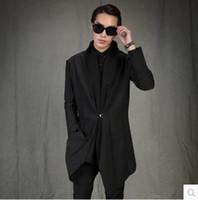 Wholesale custom trench coats - Custom made ! 2017 spring and autumn Men's New clothing fashion personality cardigan Korean medium-long slim trench coat S-5XL