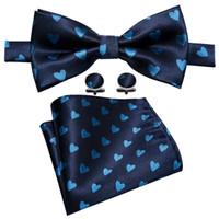 formas de coração de seda venda por atacado-Azul escuro dos homens 100% gravata de seda com ciano em forma de coração padrão designer de design lenço abotoaduras de casamento de luxo festa de negócios LH-833