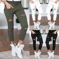 ingrosso pantaloni bianchi per le donne-Jeans Denim Skinny Pants Pantaloni Holes Destroyed Knee Pencil Pants Pantaloni casual Jeans strappati stretch nero bianco