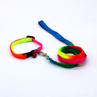Wholesale Adjustable Walking Dog Collars Rainbow Color Comfortable Nylon Puppy Harness Sturdy With Small Bells Pet Leash Shiny Design cm ZZ