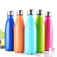 Wholesale Double Glass Beer - Cola Shaped 11 Colors Fashion Thermos Double Wall Glasses Stainless Steel Water Bottles 500ML Creative Bowling 17oz Cups Coke Beer Mug