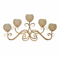 Wholesale wedding centerpieces candelabras - 5 Head Metal Candle Holder Gold Silver Plated Candlestick Crystal Table Candelabras Home Hotel Wedding Centerpieces Decoration