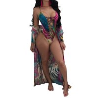 Wholesale black leopard swimwear online - 2018 One Piece Swimwear Leopard Print Front Lace Up Swimsuit Sexy Bodysuit Coverups Summer Beachwear Cover Ups Bodysuit Bathing Suit