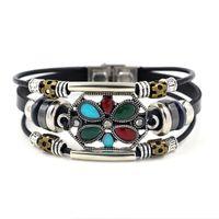 Wholesale wholesale turquoise flowers online - 2018 New Bohemia turquoise Stone Hollow Flower Bead Leather Bracelets For Women Men Wristband Charm Bracelets