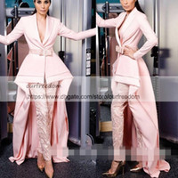 Wholesale new design skirt - Blush Pink New Fashion Prom Dresses Skirt with Pants Pink Special Long Sleeves Court Train Design Jumpsuits Formal Evening Gowns