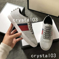 Wholesale purple table crystals - 2018 Womens Ace Embellished Leather Sneakers Schoenen Maat Watersnake-trimmed Crystal Stud Embellished Snake Low Top Trainers Shoes 013