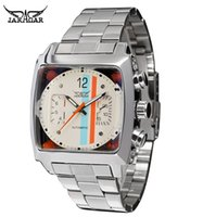 Wholesale New Jaragar Watches - JARAGAR Stainless Steel Square Transparent Case Back High Quality Auto Movement Men's Mechanical Watch Male Wristwatch Relogio